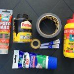Alleslijm, PVC-lijm, plakband, duct-tape, secondenlijm, houtlijm, kit